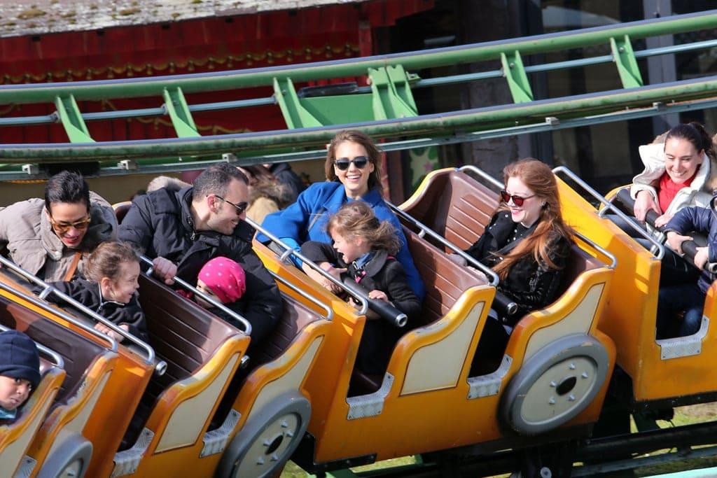 Jessica Alba on a roller coaster