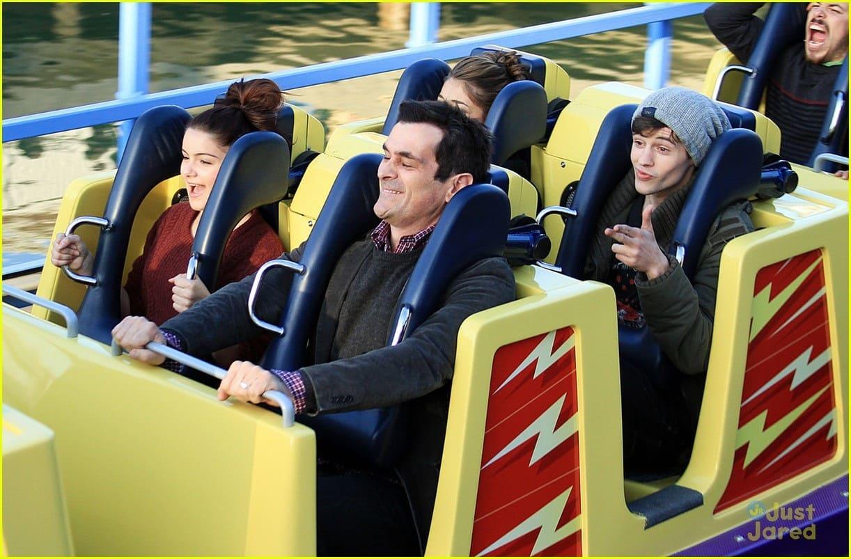 Ariel Winter, Ty Burrell, and Matt Prokop on a roller coaster