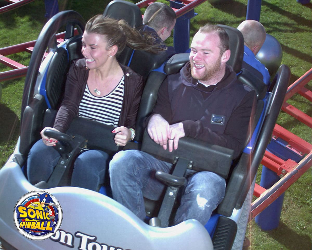 Wayne Rooney and his wife Colleen on a roller coaster