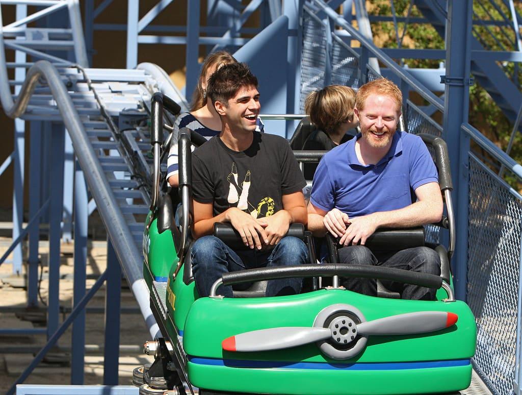 Jesse Tyler Ferguson andJustin Mikita on a roller coaster