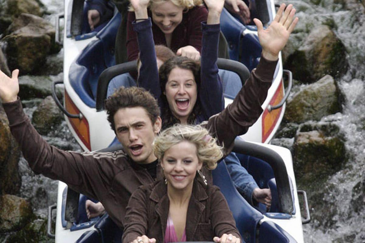 James Franco on a roller coaster
