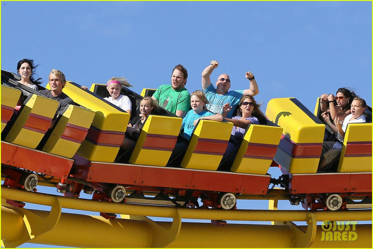 Chris Pratt on a roller coaster