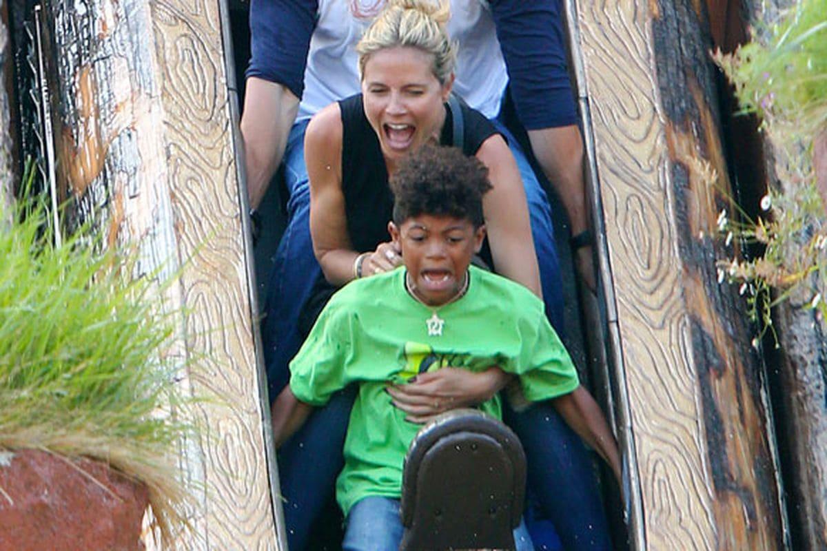 Heidi Klum on a roller coaster