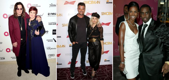 Sharon and Ozzy Osbourne at a red-carpet event. / Fergie and Josh Duhamel at a red-carpet event. / P Diddy and Kim Porter at a red-carpet event.