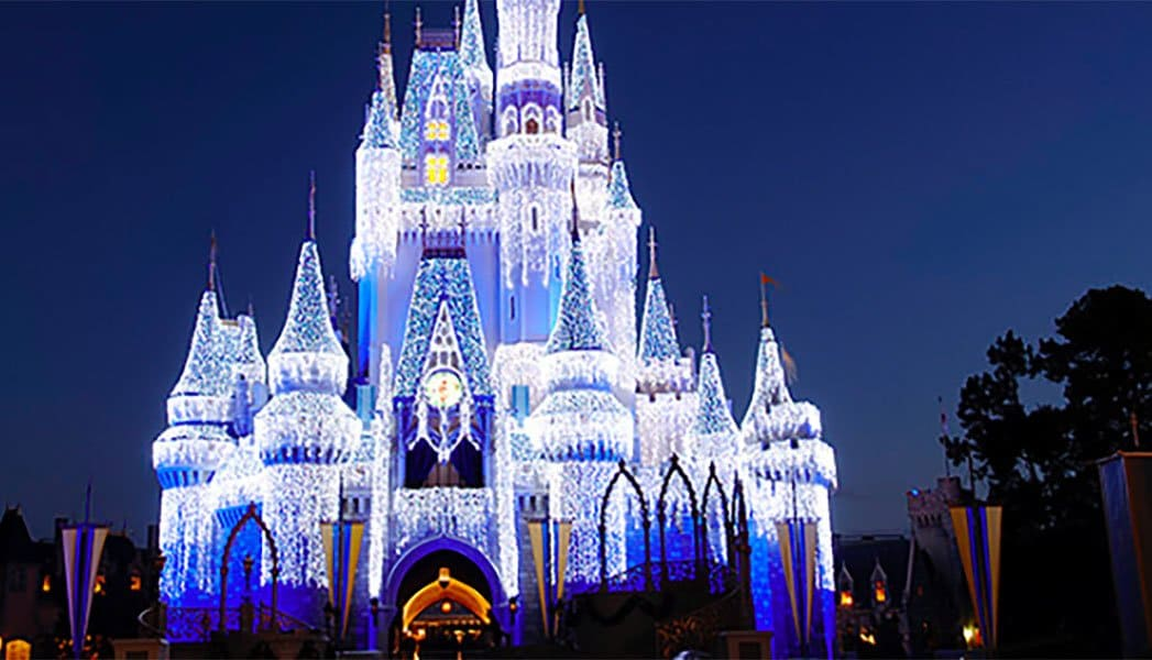 Disney world's Castle covered with lights