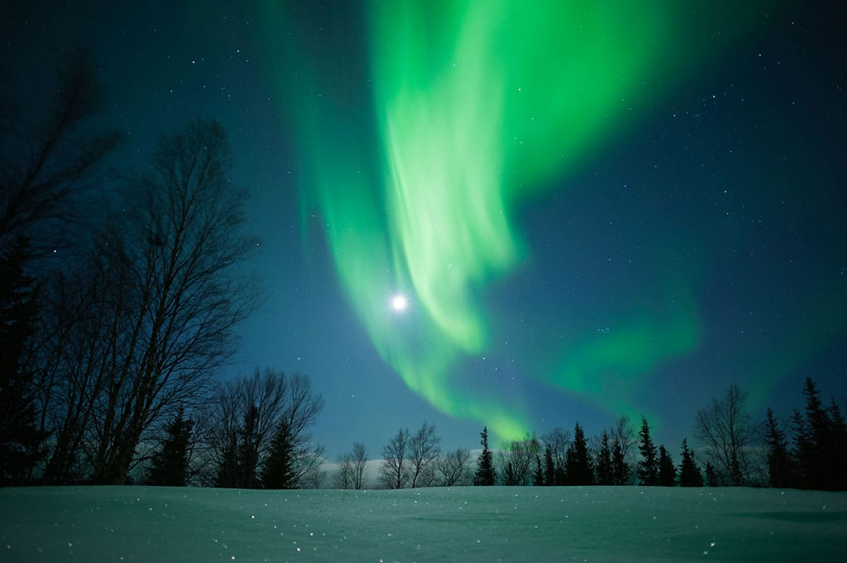 Fabulous Northern Lights in the sky above the Russian Arctic.