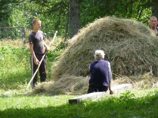 A photo of an older man sitting next to a haystack while a younger boy holds a gardening tool and a middle-age man stands by.