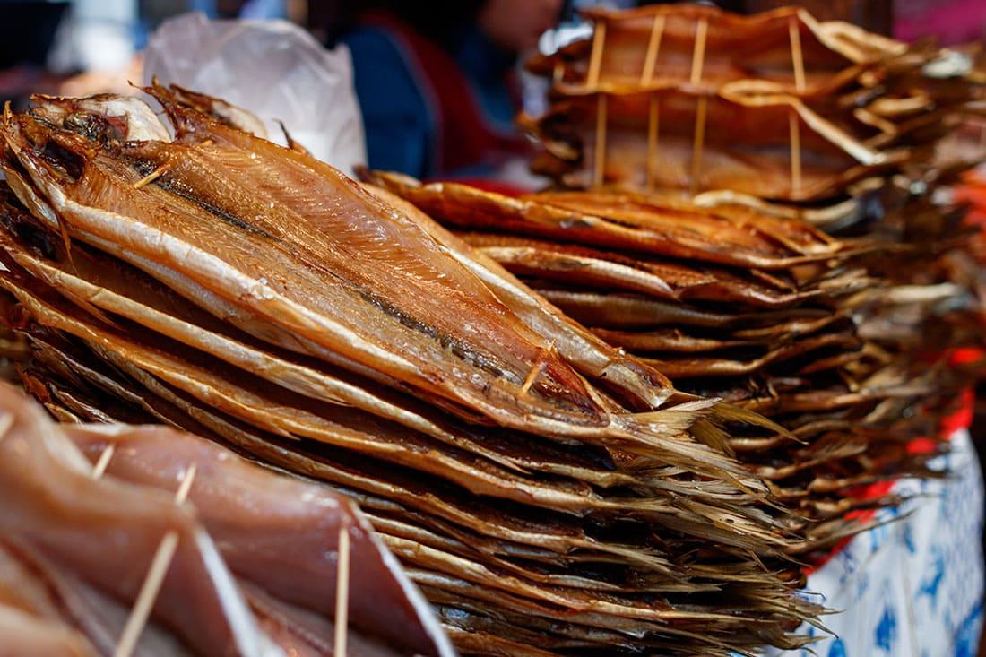 Baikal fish hot smoked, and dried at the street market in Listvyanka, Siberia, Russia.