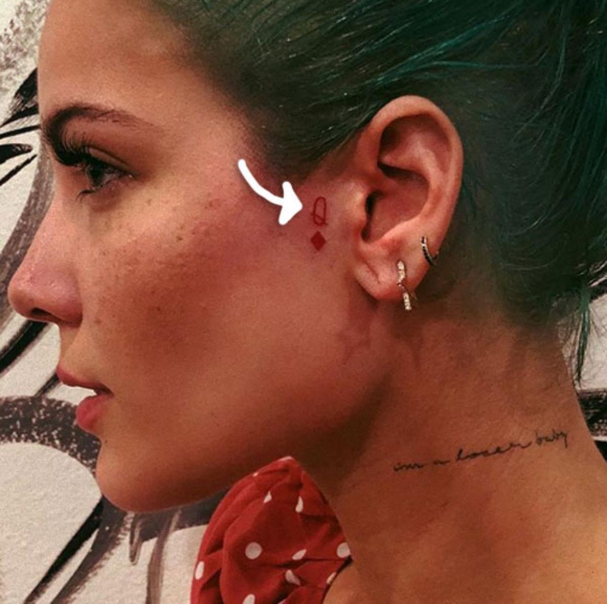 Halsey's face tattoo