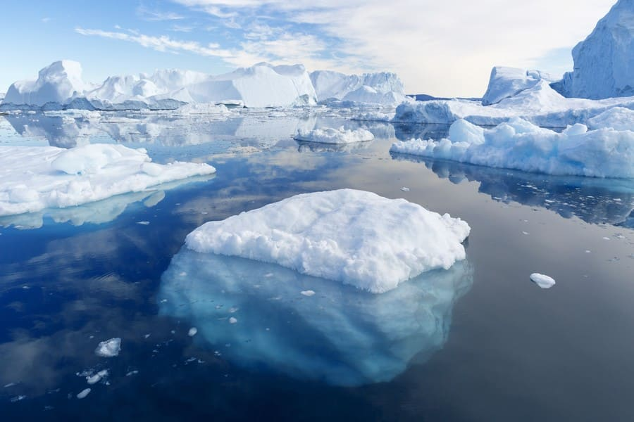 A photograph of icebergs that seem hard to navigate.