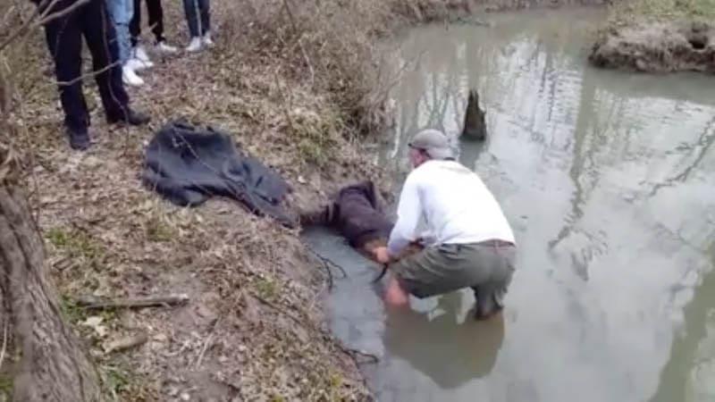 Photograph of Jim helping the stuck animal.