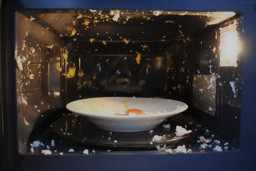 Photograph of egg exploded in the microwave.