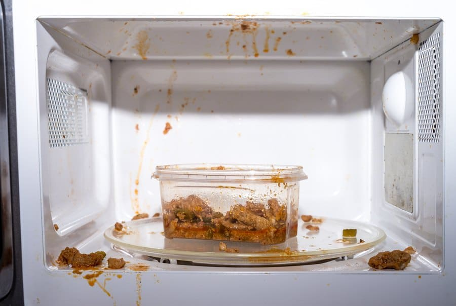 Meat in a red pasta sauce exploded in the microwave.