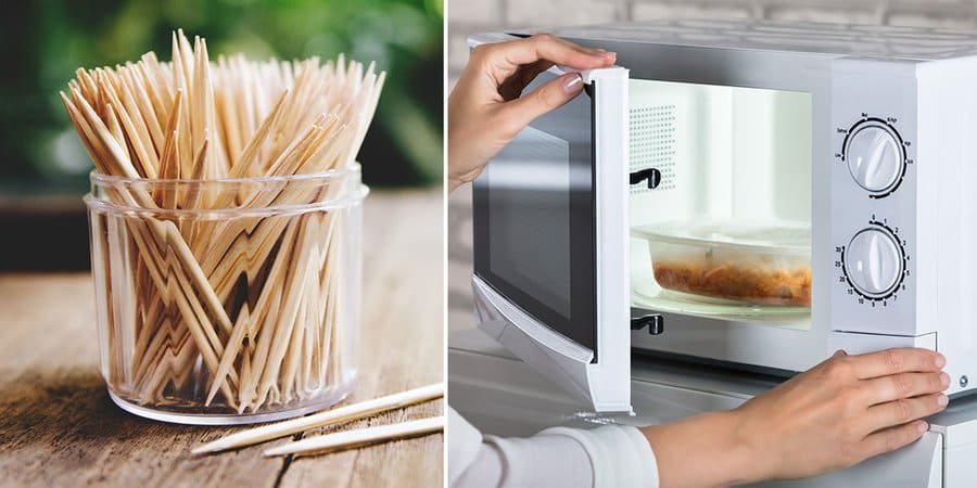 A cup of toothpicks on a wooden table. / A woman closing the microwave door.