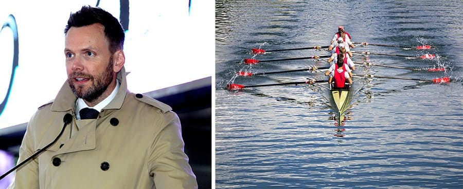 Photograph of Joel McHale at a star ceremony on the Hollywood Walk of Fame. / Photograph of a rowing team on a lake.