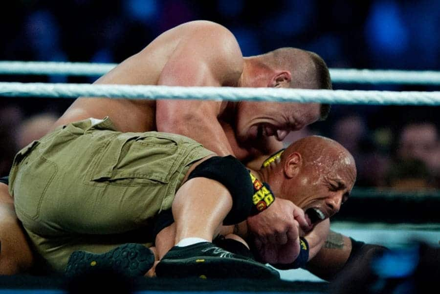 Dwayne 'The Rock' Johnson goes on to lose against WWE championship challenger John Cena.