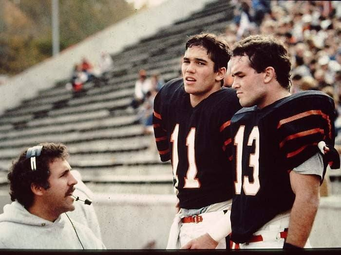 Photograph of Dean Cain, a teammate and his coach in his Junior year at Princeton.