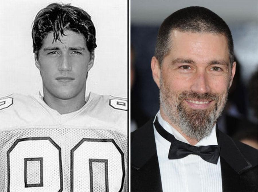 Photograph of a younger Matthew Fox in his football uniform and a more recent photograph of him in a tuxedo.