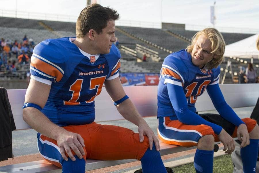 Photograph of Channing Tatum playing a football player in the movie sequel 22 Jump Street.