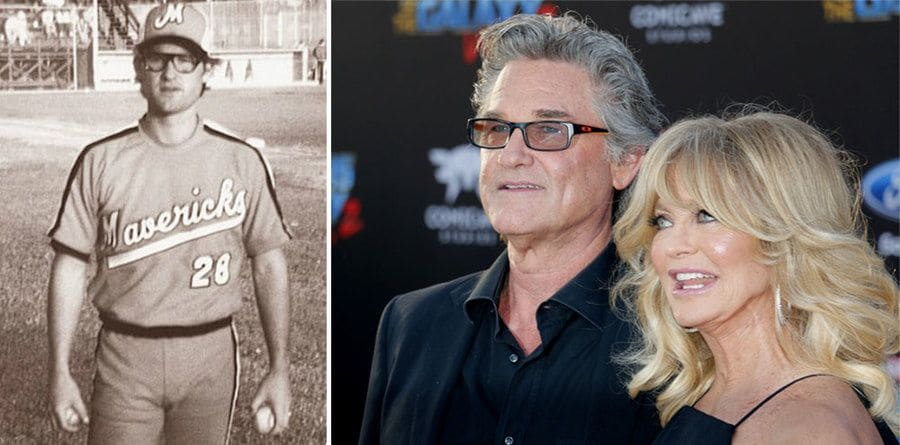 Photograph of Kurt Russell in a Mavericks uniform. / Goldie Hawn and Kurt Russell at a movie premiere in Hollywood.