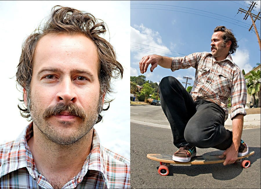 A portrait of Jason Lee and him on a skateboard on the right.