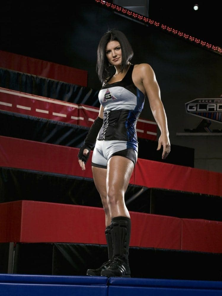 Gina Carano posing and dressed for American Gladiators.