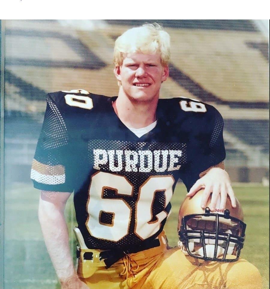 Photograph of Jim Gaffigan in a Purdue football uniform.