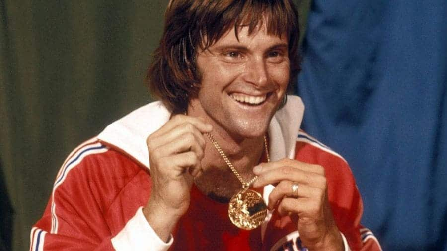 Photograph of Bruce Jenner with their Olympic medal.