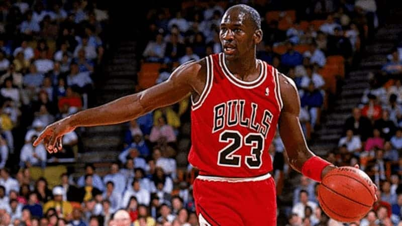 Photograph of Michael Jordon playing for the Chicago Bulls, number 23.
