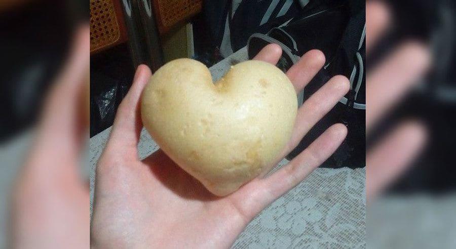 A potato shaped like a heart