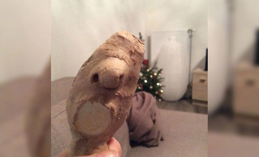 A potato that looks like it has a face