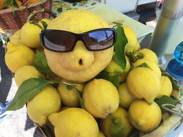 A lemon wearing sunglasses