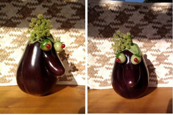 An eggplant that looks like a lady