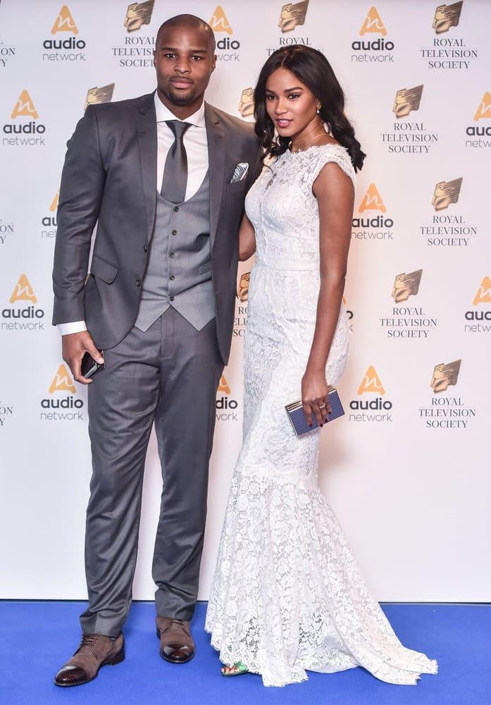 Osi Umenyiora and Leila Lopes at the Royal Television Society Awards
