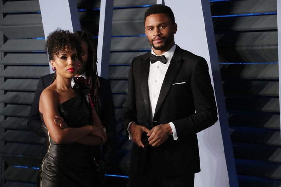 Kerry Washington and Nnamdi Asomugha at the Vanity Fair Oscar Party