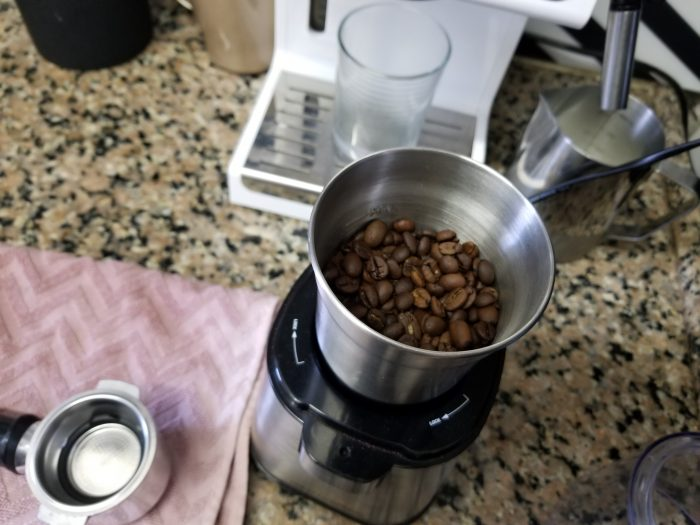 Coffee beans inside of an electric grinder.