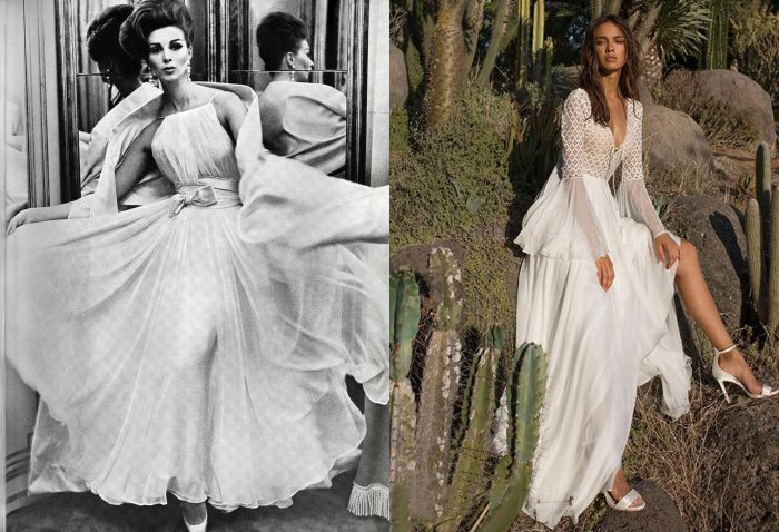 Romanticism style from the '60s. / A romantic white dress.