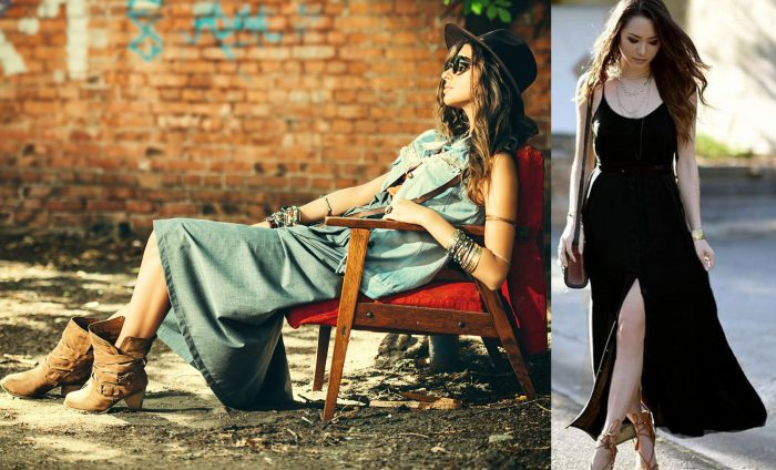 Denim style boho clothing on a woman sitting in a red chair with brown boots on. / A black maxi dress with a small slit.