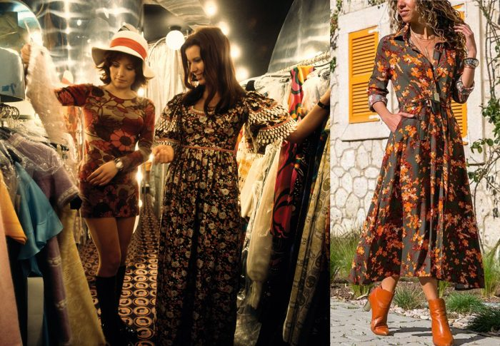 Two women checking out some '60s fashion. / A black floral dress.