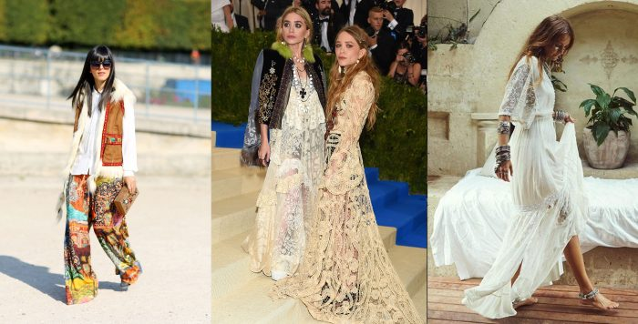 Photo of retro boho style clothing. / Mary Kate and Ashley Olsen in lace boho style clothing. / A white lace dress, similar to Mary-Kate's