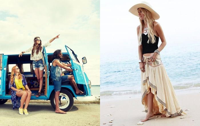 A few friends dressed up with boho style in a van on a road trip. / A woman on the beach with a tan embroidered skirt, a hat to match, and a black shirt.