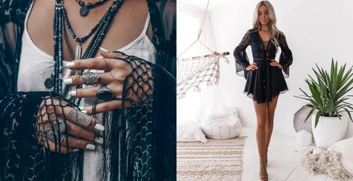 Edgy black lace and fringe boho look. / A woman wearing a short black lace dress.