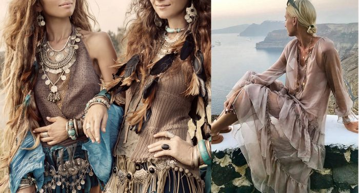 Two women with boho-chic style outfits and accessories. / A woman wearing a loose tan maxi dress with sleeves.