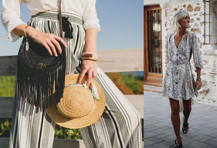 Photo of a woman with a white shirt, a striped boho pair of pants, a black purse, and a straw hat. / A woman wearing a shorter flowing dress.