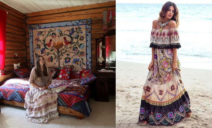A bedroom with a bohemian style and a woman wearing boho style clothing sitting on the bed. / A woman on the beach with with a blue and tan maxi dress.