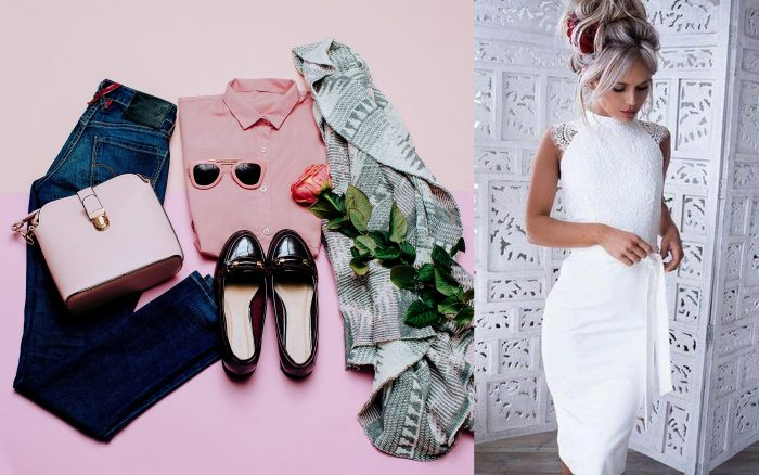Photograph of a boho outfit with jeans and pink, black, and grey accessories. / Photograph of a woman in a white no-sleeve dress with her hair in a wavy updo.