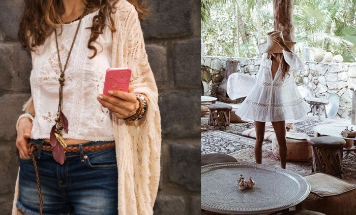 Boho style outfit with a lace shirt and light sweater and jean shorts. / Photograph of a woman in a cute backyard sitting area wearing a short white flowing dress.