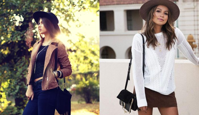 A woman wearing a hat, suede jacket, and a purse with fringe with an artsy bohemian style. / Photograph of a woman wearing bohemian style clothing with a cute white shirt and a hat.