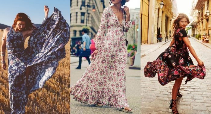 A model wearing a summer cotton maxi dress and jewelry in a field with a haystack. / A woman wearing a light floral maxi dress. / A woman wearing a short black floral dress.