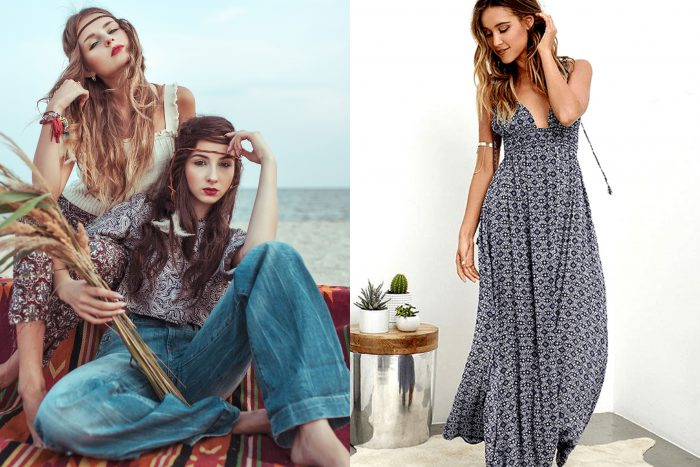 Two women sitting on a blanket next to the ocean with boho style clothing. / A woman standing in the corner of a room in a long dark blue and patterned spaghetti strap maxi dress.